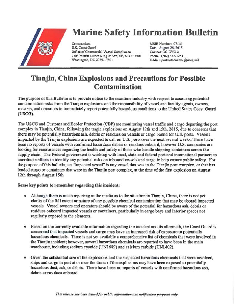 Uscg-Alert-Tianjin-China