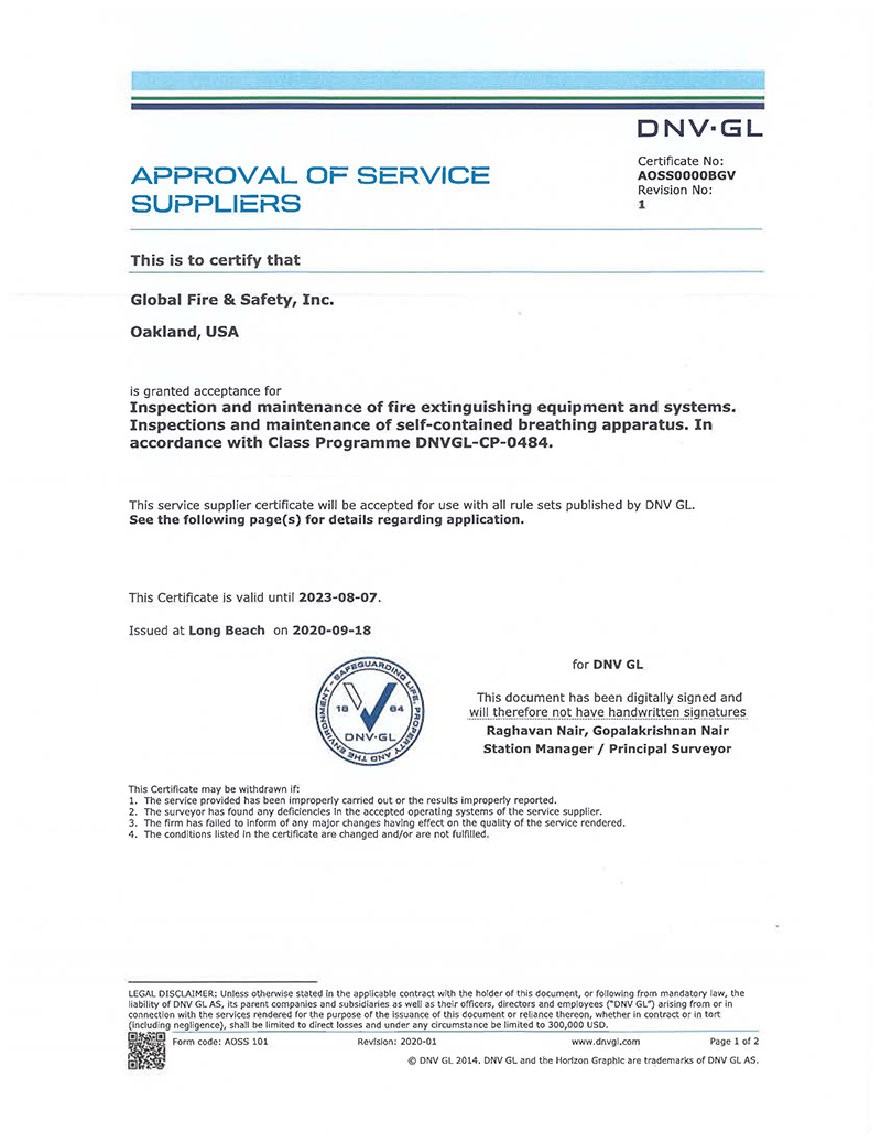 DNV - GL Oakland and San Diego Approval
